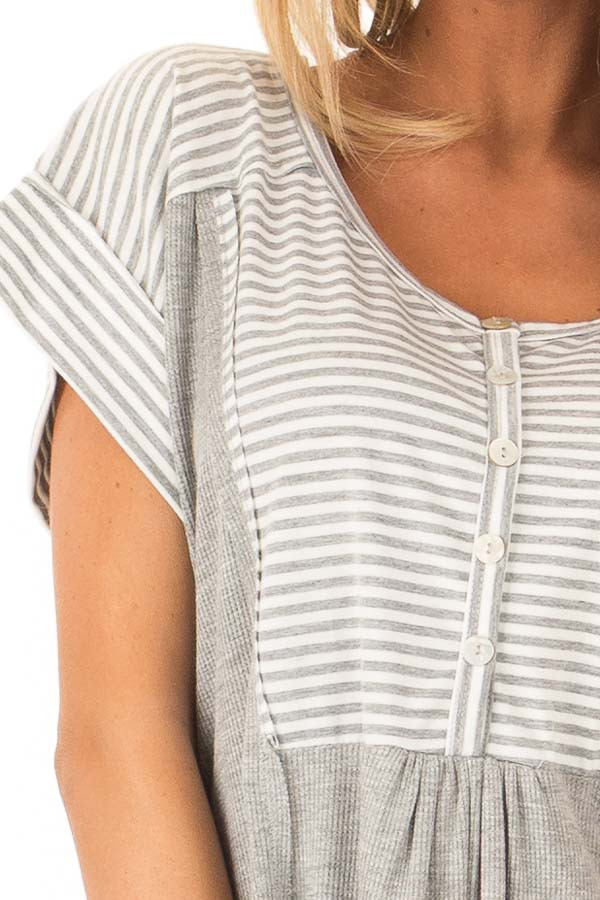 Heather Grey Top with Striped Contrast and Button Up Detail detail