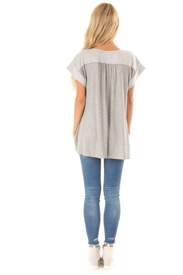 Heather Grey Top with Striped Contrast and Button Up Detail back full body