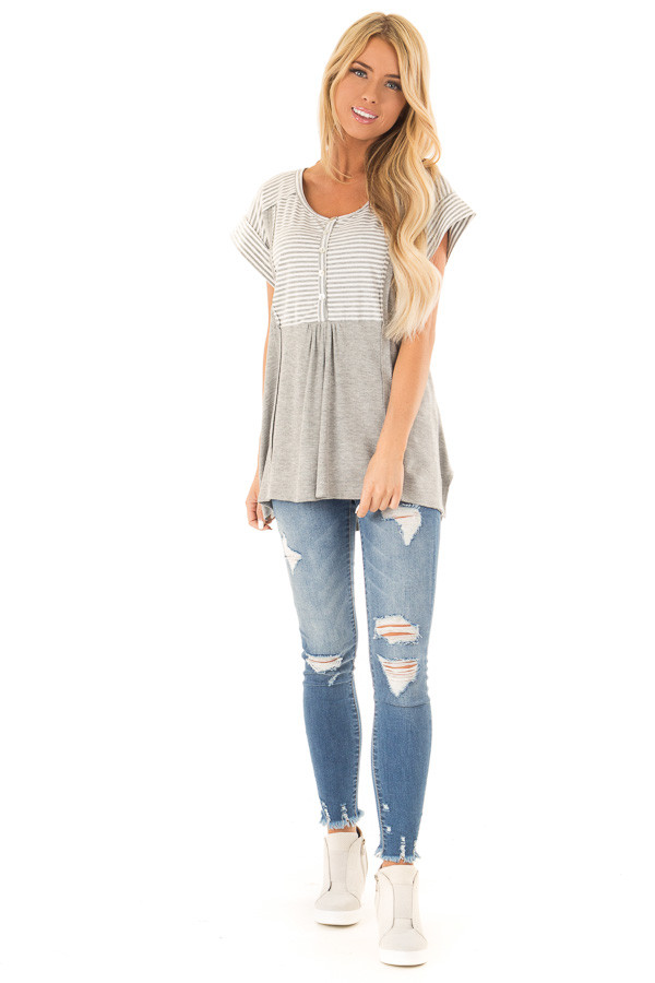 Heather Grey Top with Striped Contrast and Button Up Detail front full body