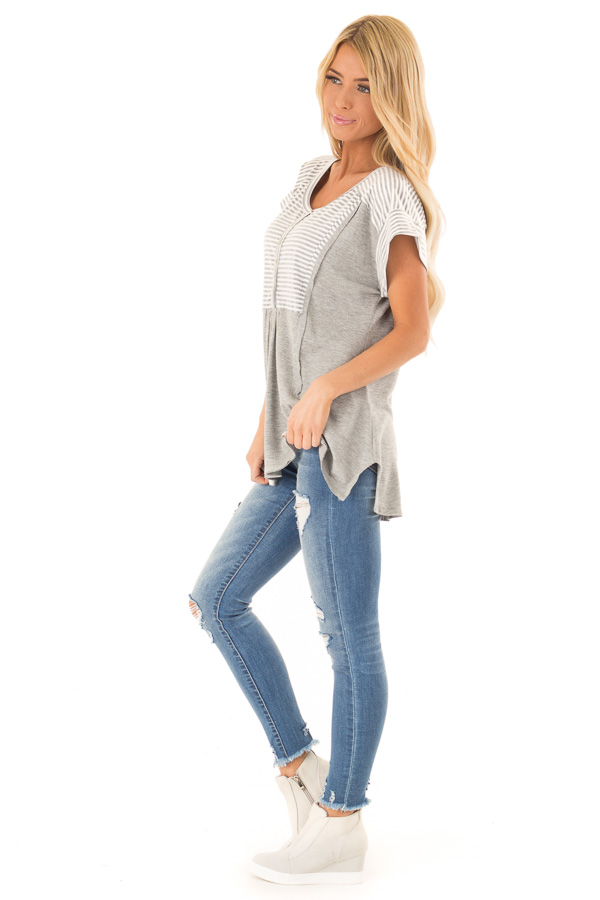 Heather Grey Top with Striped Contrast and Button Up Detail side full body