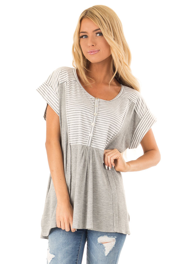 Heather Grey Top with Striped Contrast and Button Up Detail front close up