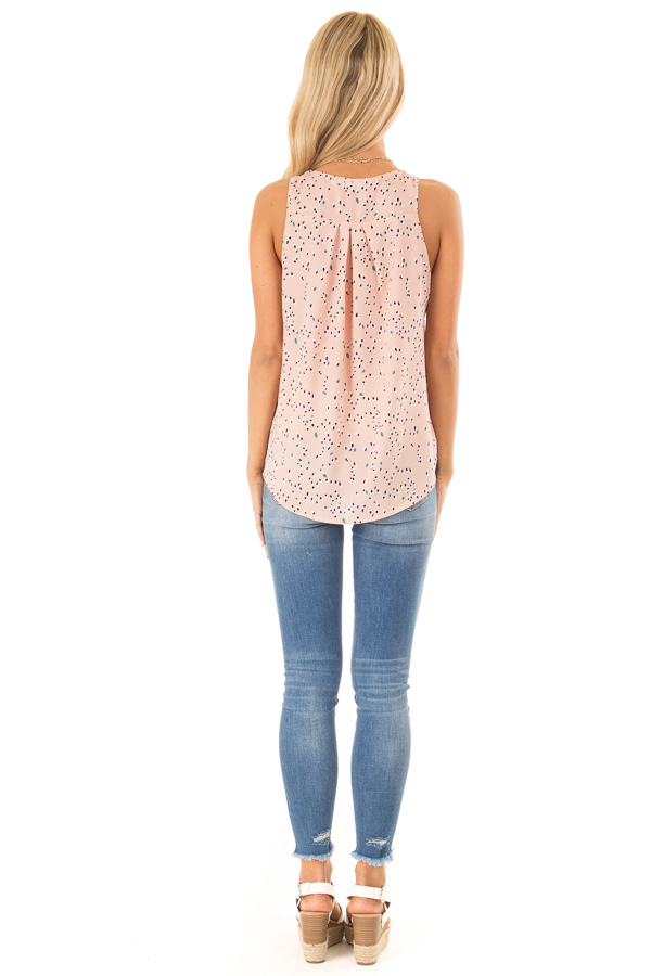 Blush Printed Tank Top with Front Gathered Detail back full body