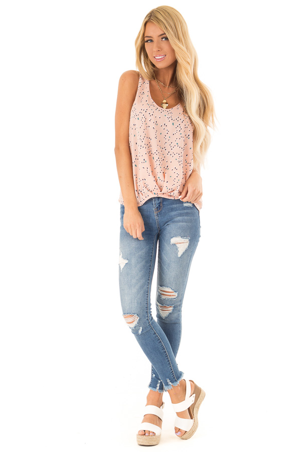 Blush Printed Tank Top with Front Gathered Detail front full body