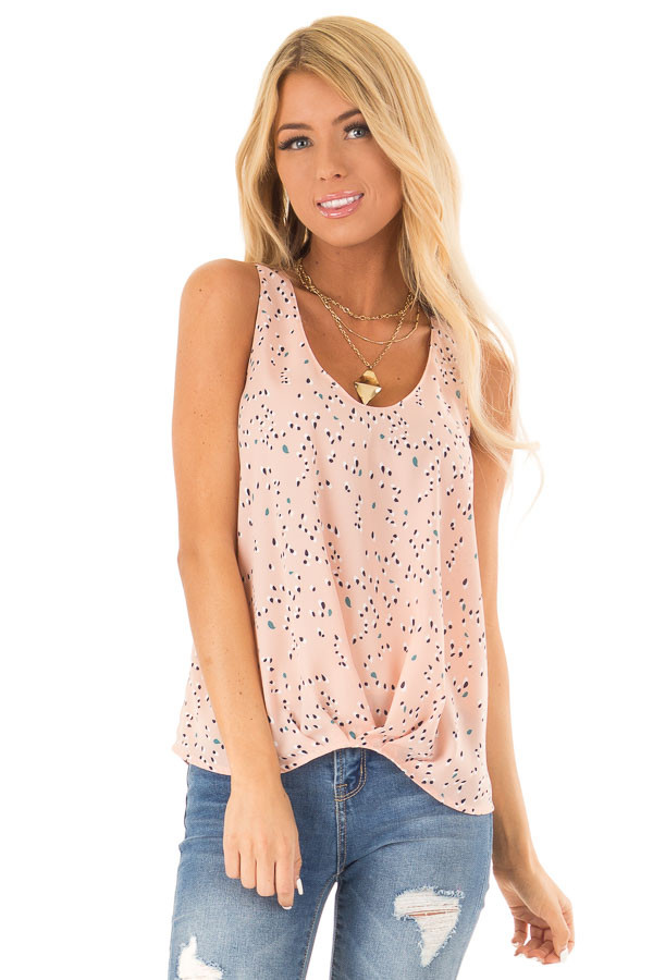 Blush Printed Tank Top with Front Gathered Detail front close up
