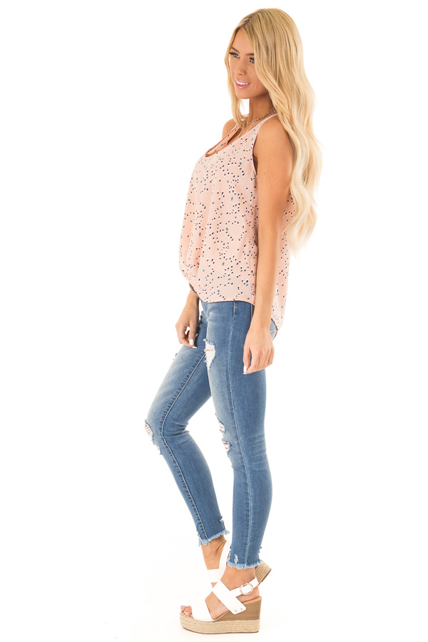 Blush Printed Tank Top with Front Gathered Detail side full body