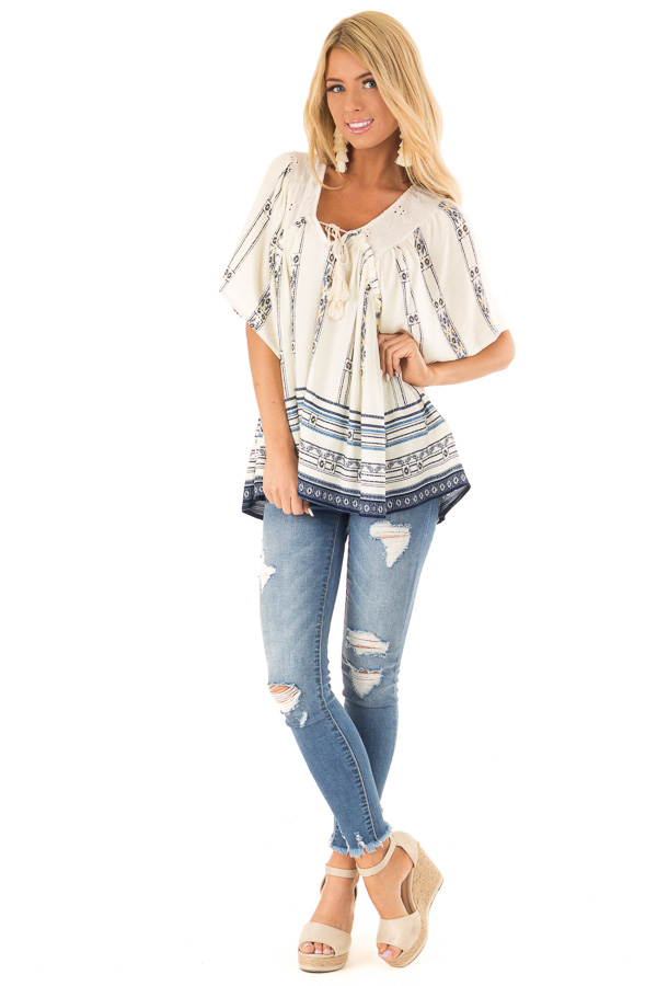 Ivory and Indigo Mixed Print Peasant Top with Front Tie front full body