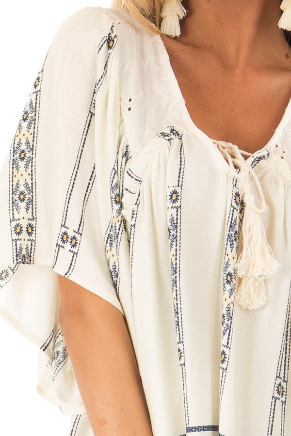 Ivory and Indigo Mixed Print Peasant Top with Front Tie detail