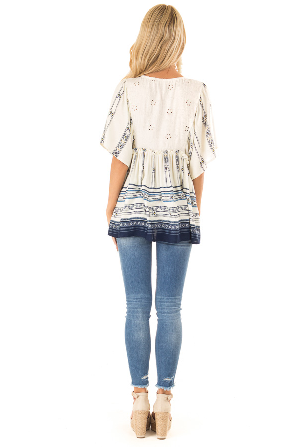 Ivory and Indigo Mixed Print Peasant Top with Front Tie back full body