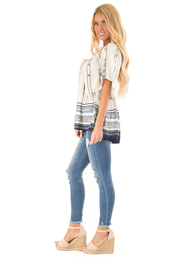 Ivory and Indigo Mixed Print Peasant Top with Front Tie side full body
