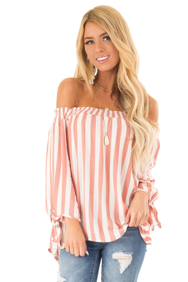 Dark Peach and Ivory Striped Off the Shoulder Top front close up