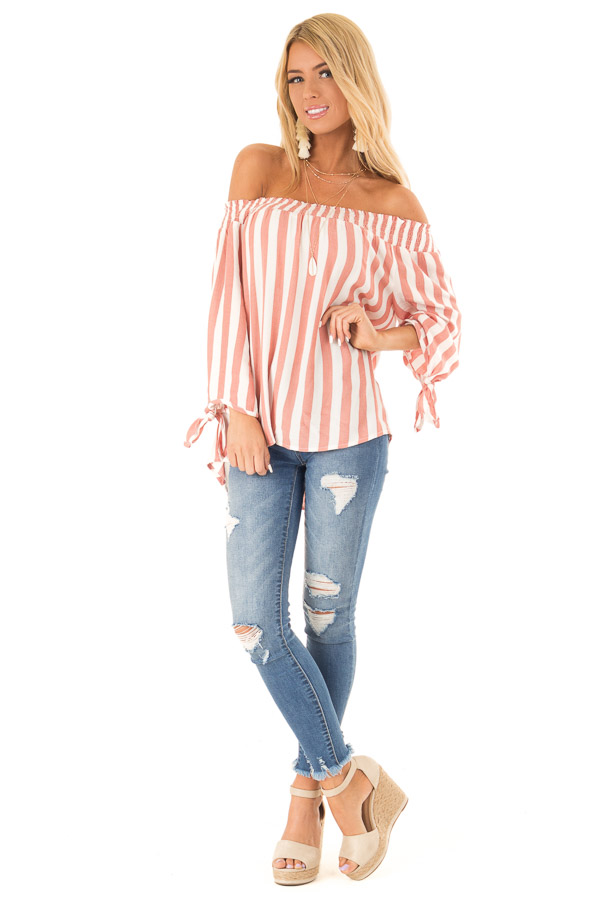 Dark Peach and Ivory Striped Off the Shoulder Top front full body