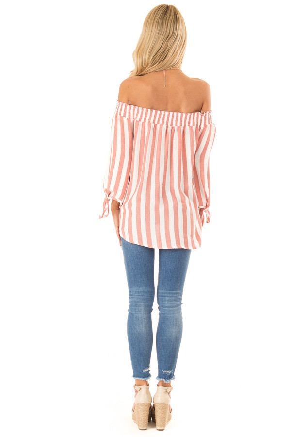 Dark Peach and Ivory Striped Off the Shoulder Top back full body
