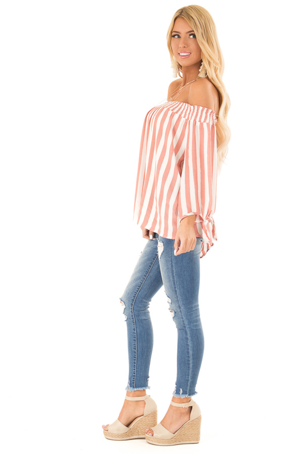 Dark Peach and Ivory Striped Off the Shoulder Top side full body
