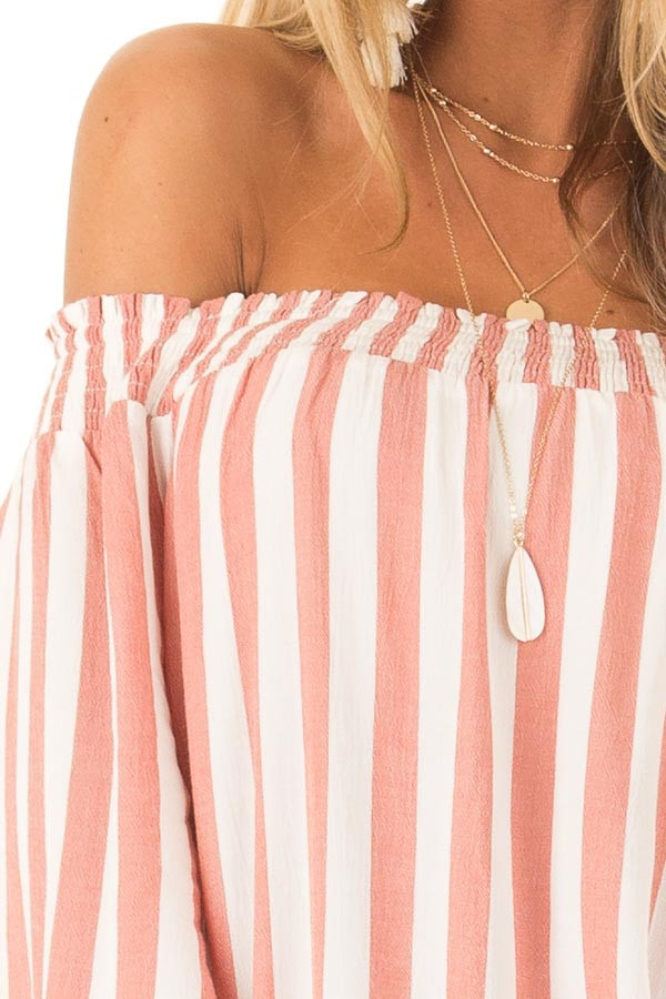 Dark Peach and Ivory Striped Off the Shoulder Top detail