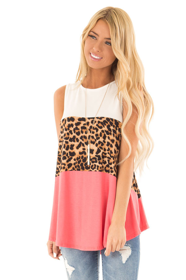 Coral and Ivory Color Block Tank with Leopard Print front close up