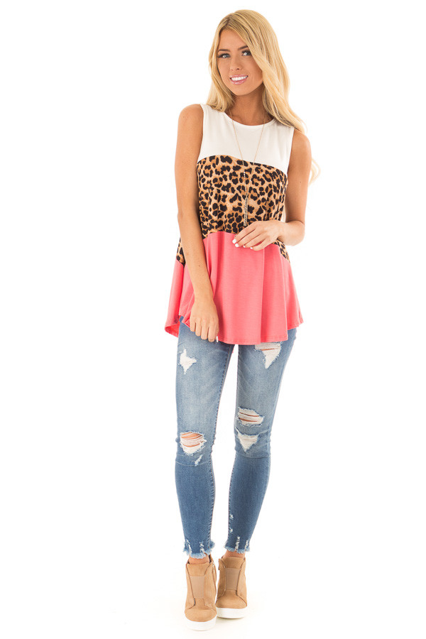 Coral and Ivory Color Block Tank with Leopard Print front full body