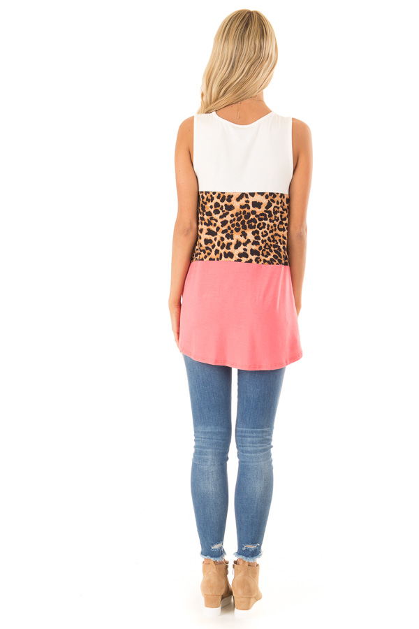 Coral and Ivory Color Block Tank with Leopard Print back full body