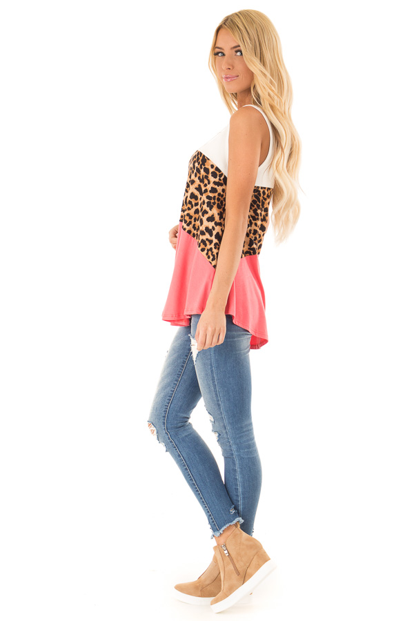 Coral and Ivory Color Block Tank with Leopard Print side full body