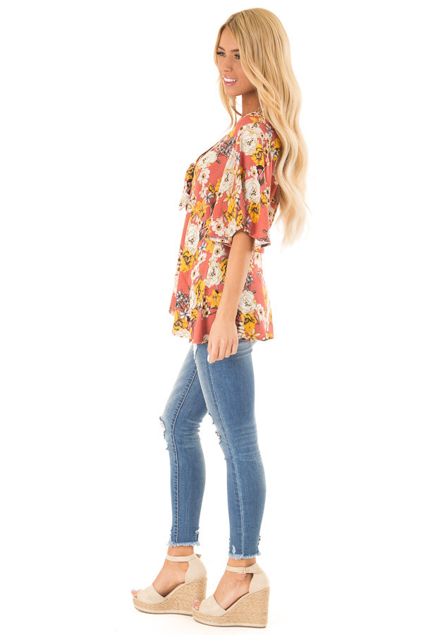 Clay Flowy Top with Floral Print and Front Tie side full body