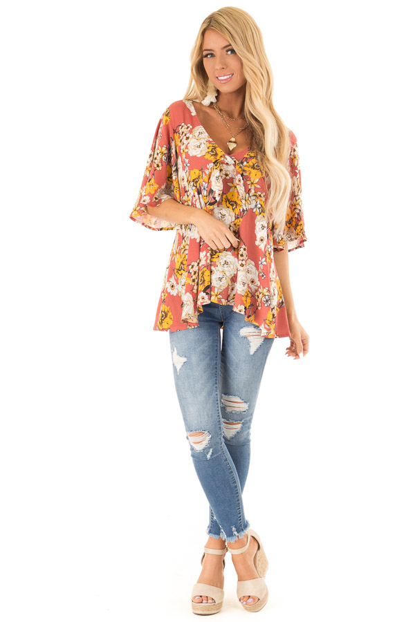 Clay Flowy Top with Floral Print and Front Tie front full body