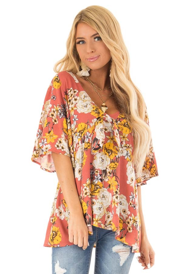 Clay Flowy Top with Floral Print and Front Tie front close up