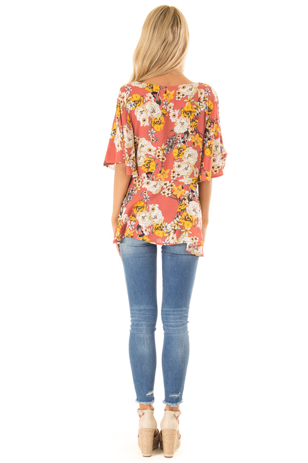 Clay Flowy Top with Floral Print and Front Tie back full body