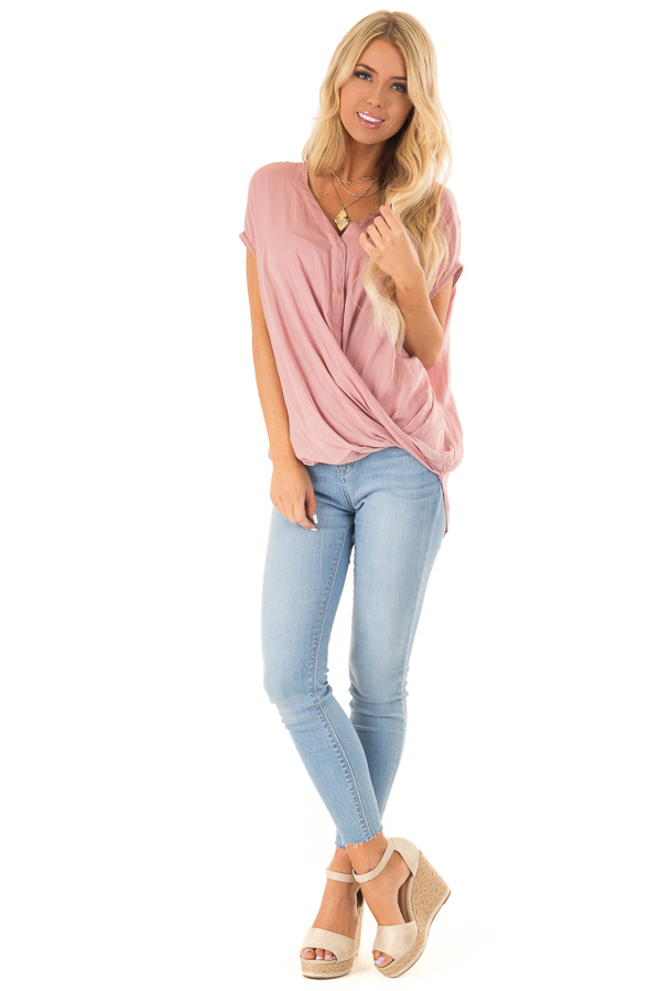 Faded Blush Short Sleeve Surplice Top with High Low Hemline front full body