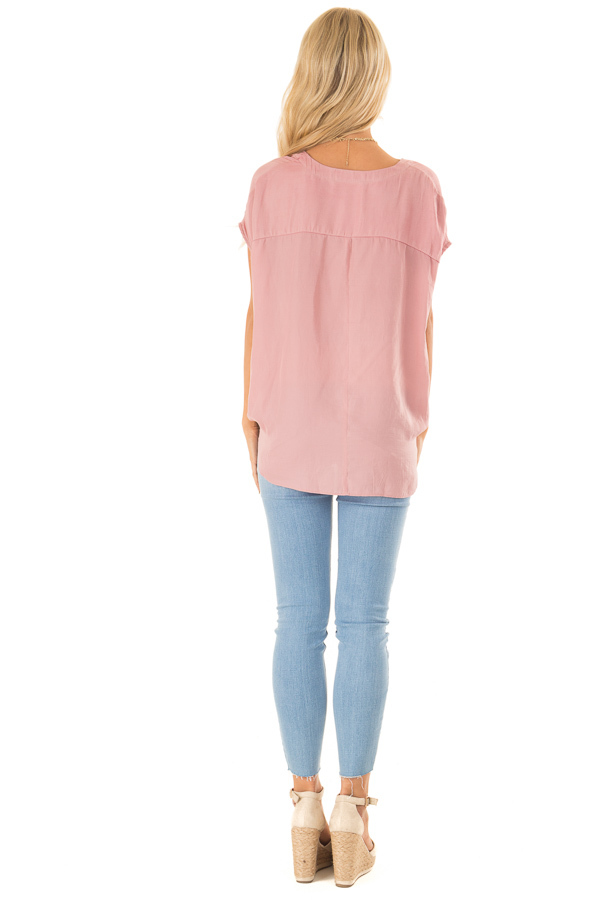 Faded Blush Short Sleeve Surplice Top with High Low Hemline back full body