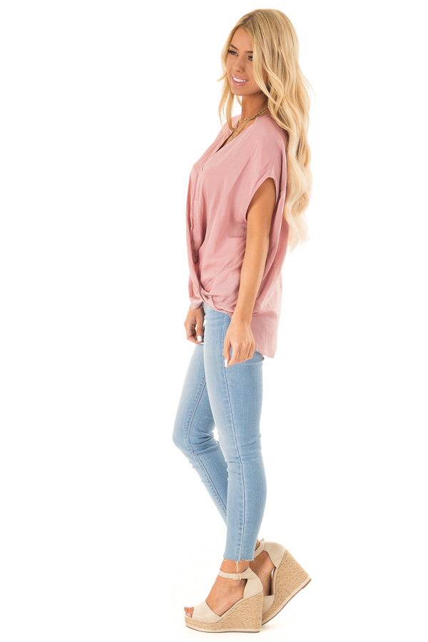 Faded Blush Short Sleeve Surplice Top with High Low Hemline side full body