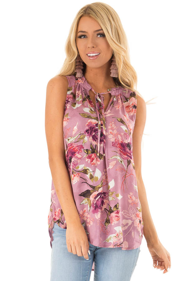 Orchid Floral Print Tank Top with Tie Neckline front close up