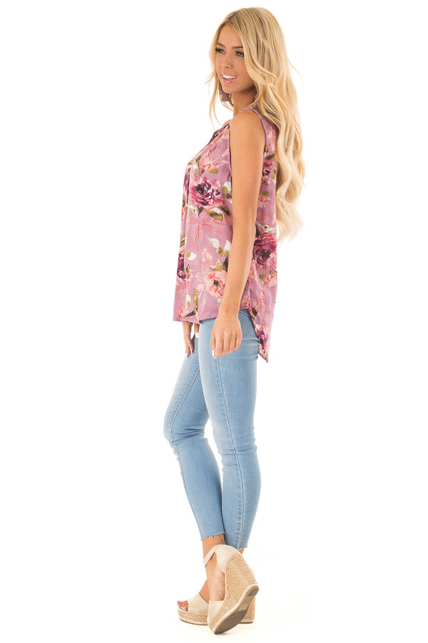 Orchid Floral Print Tank Top with Tie Neckline side full body