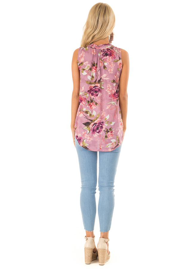 Orchid Floral Print Tank Top with Tie Neckline back full body