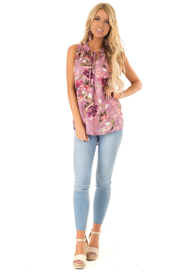 Orchid Floral Print Tank Top with Tie Neckline front full body