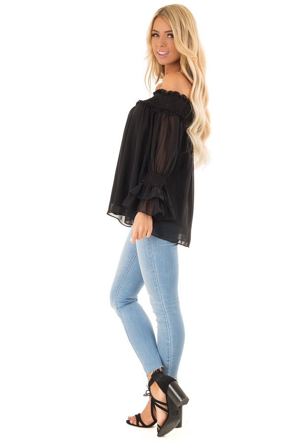Ebony Black Off the Shoulder Top with Smocked Detail side full body