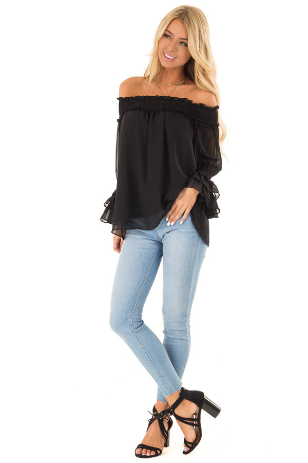 Ebony Black Off the Shoulder Top with Smocked Detail front full body