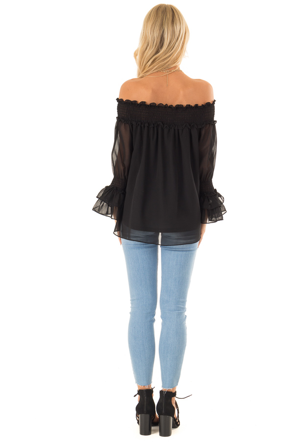 Ebony Black Off the Shoulder Top with Smocked Detail back full body