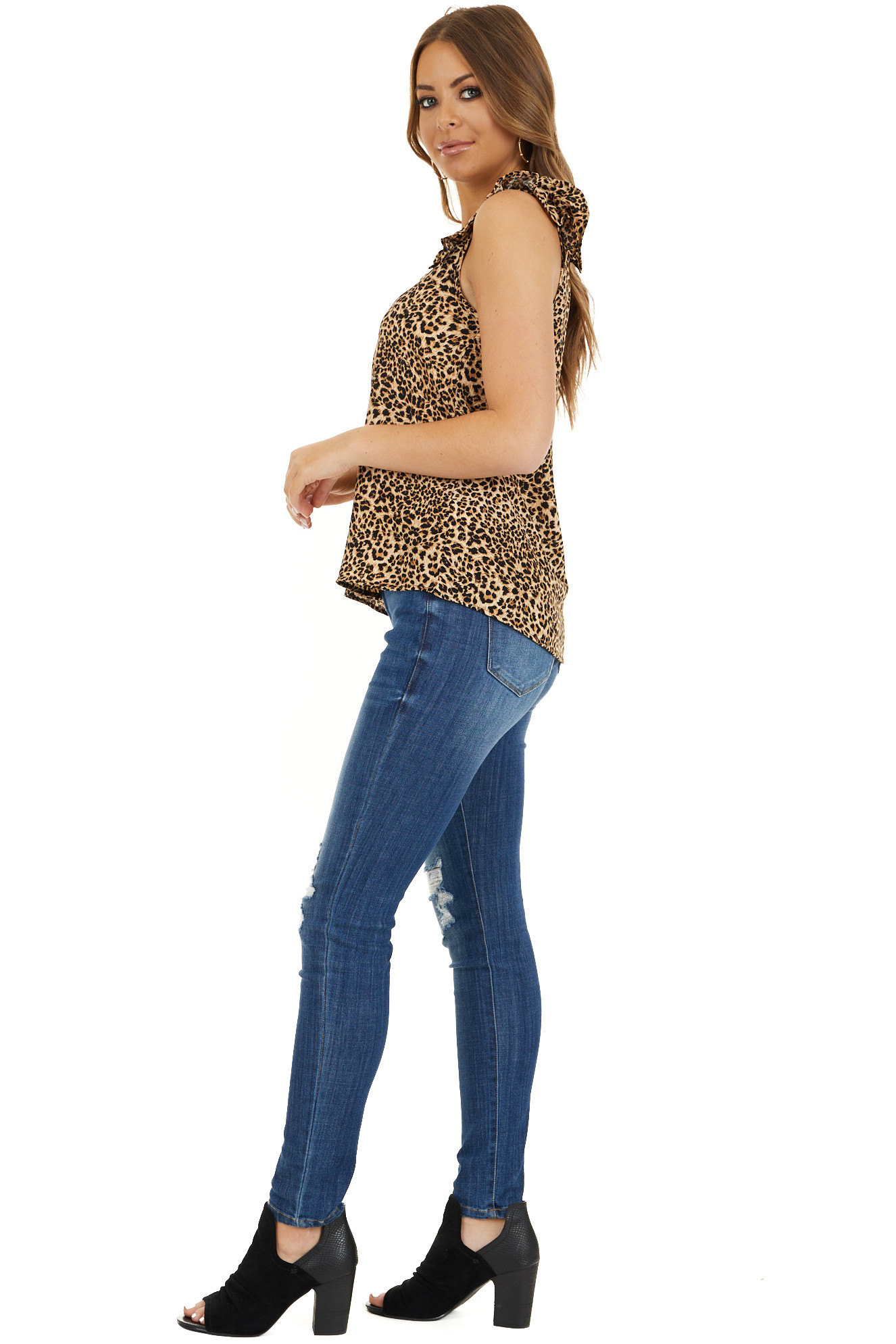 Beige Cheetah Print V Neck Top with Ruffle Cap Sleeves side full body