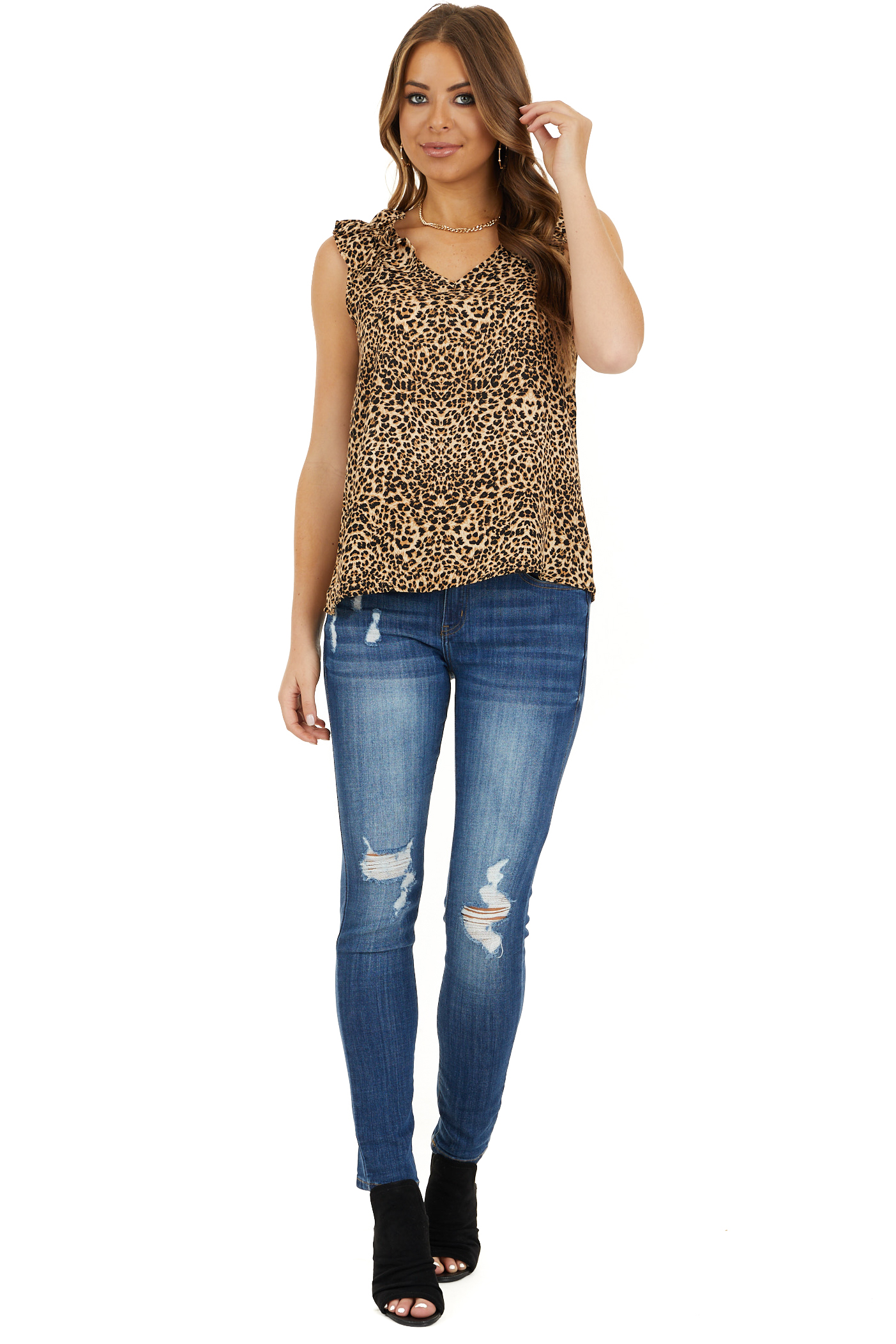 Beige Cheetah Print V Neck Top with Ruffle Cap Sleeves front full body