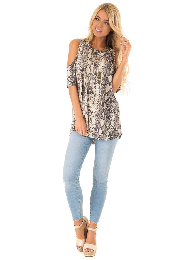 Ivory Snakeskin Top with Criss Cross Cold Shoulder front full body