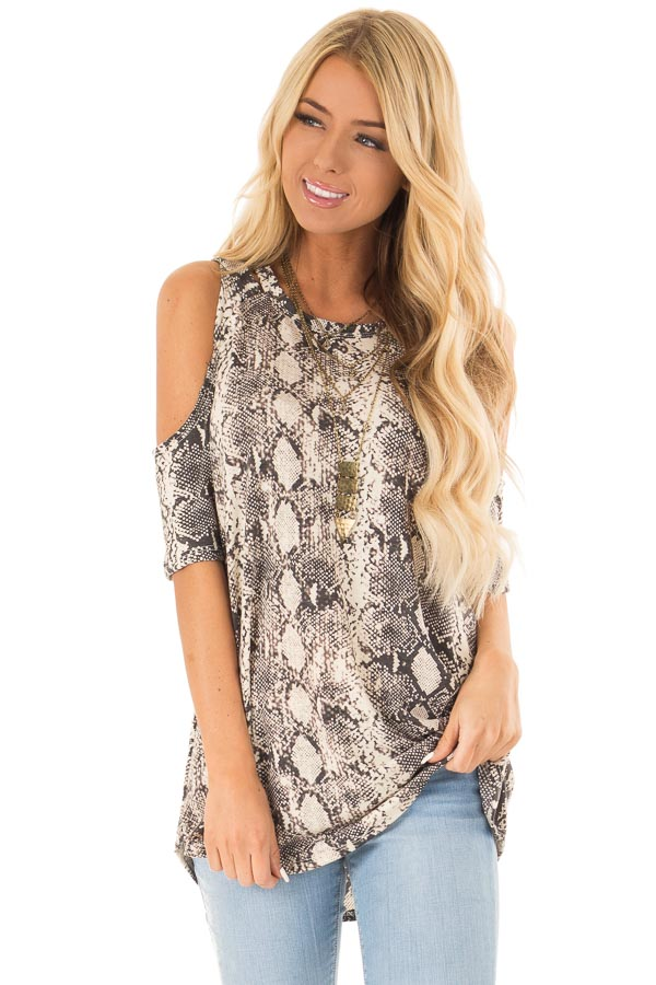 Ivory Snakeskin Top with Criss Cross Cold Shoulder front close up