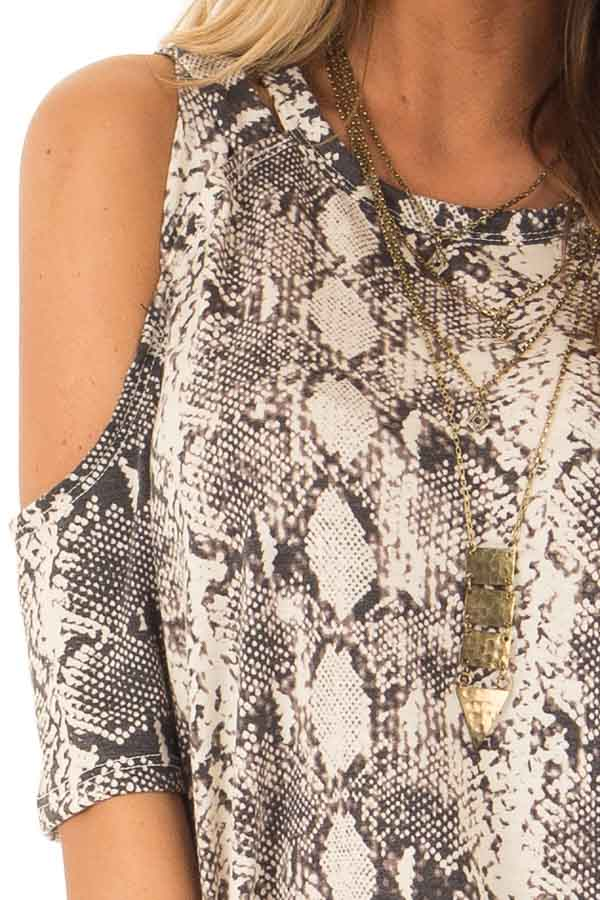 Ivory Snakeskin Top with Criss Cross Cold Shoulder detail