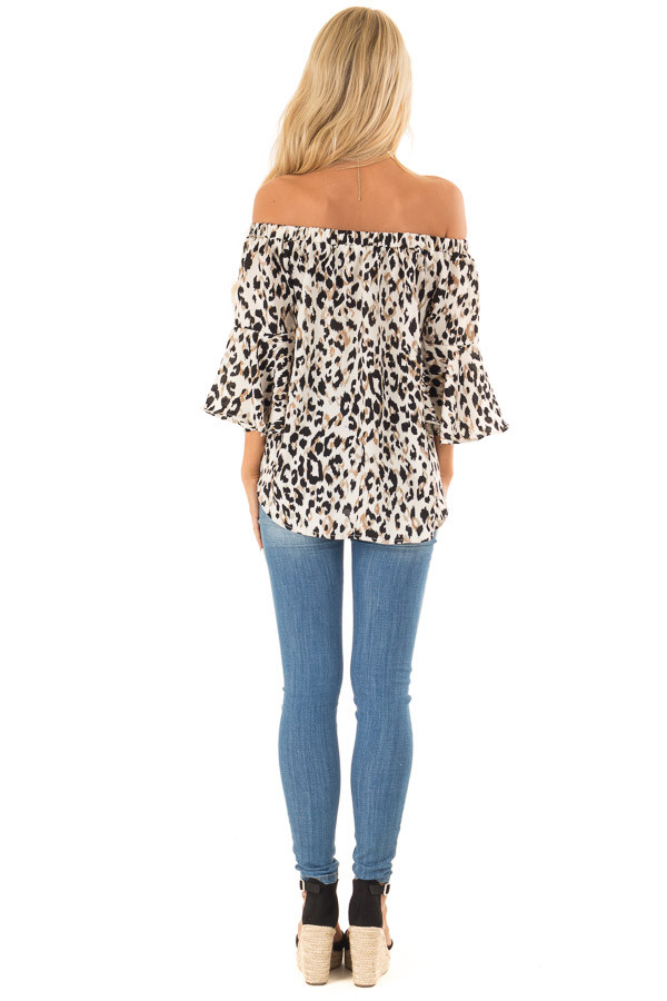 Off White Animal Print Off the Shoulder Top with Front Tie back full body