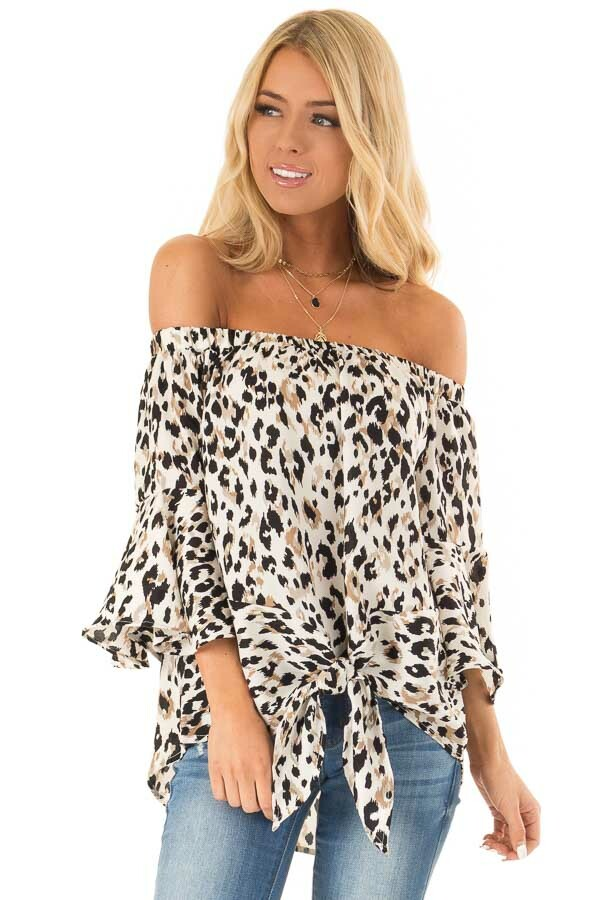 Off White Animal Print Off the Shoulder Top with Front Tie front close up
