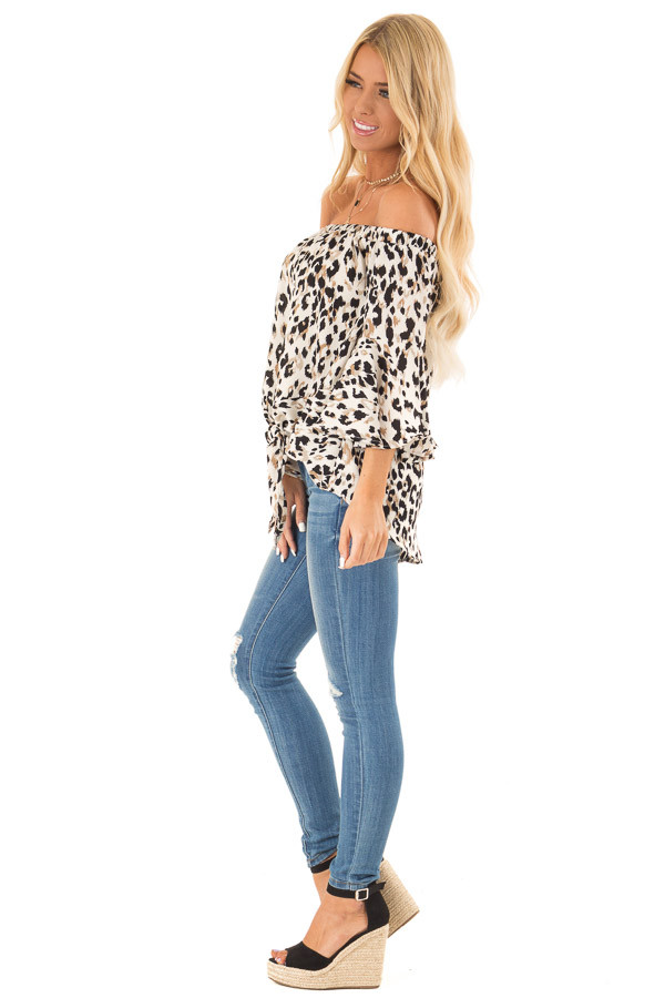Off White Animal Print Off the Shoulder Top with Front Tie side full body
