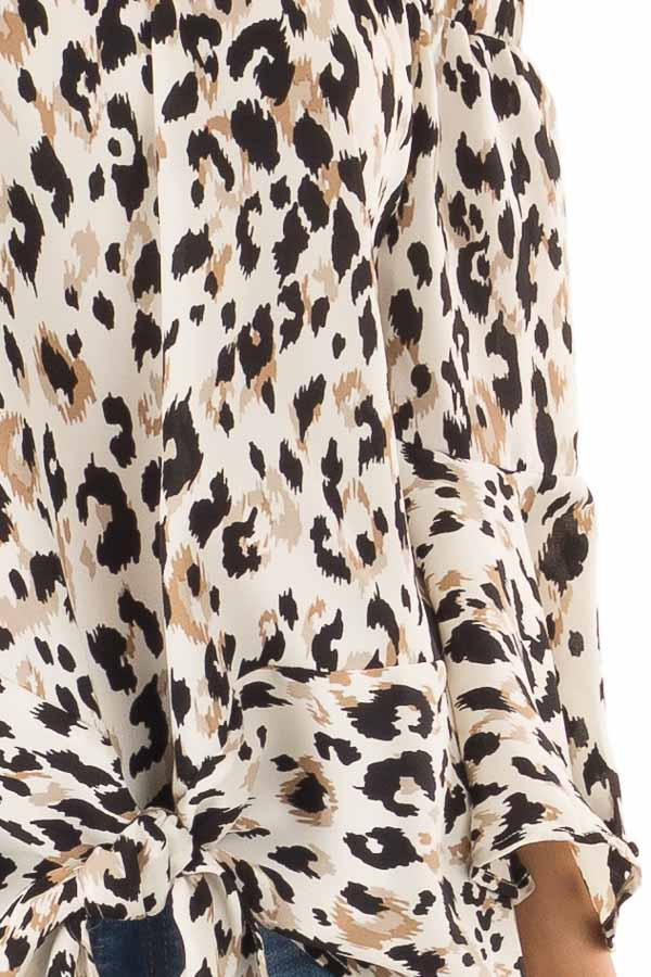 Off White Animal Print Off the Shoulder Top with Front Tie detail