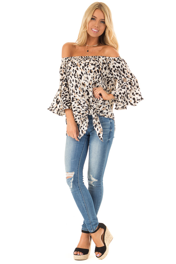 Off White Animal Print Off the Shoulder Top with Front Tie front full body