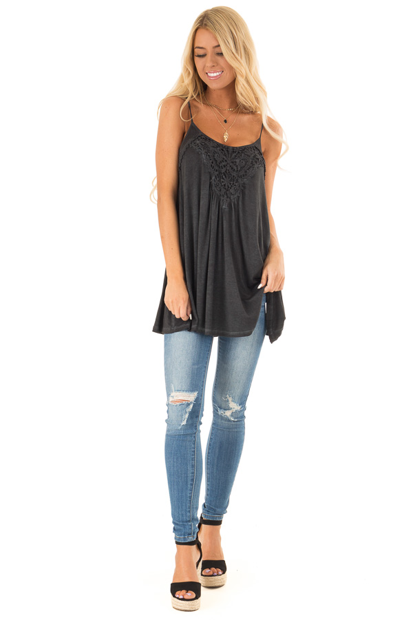 Charcoal Flowy Tank Top with Crochet Detail front full body