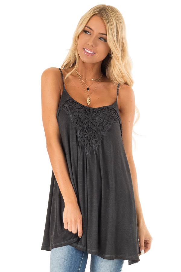 Charcoal Flowy Tank Top with Crochet Detail front close up