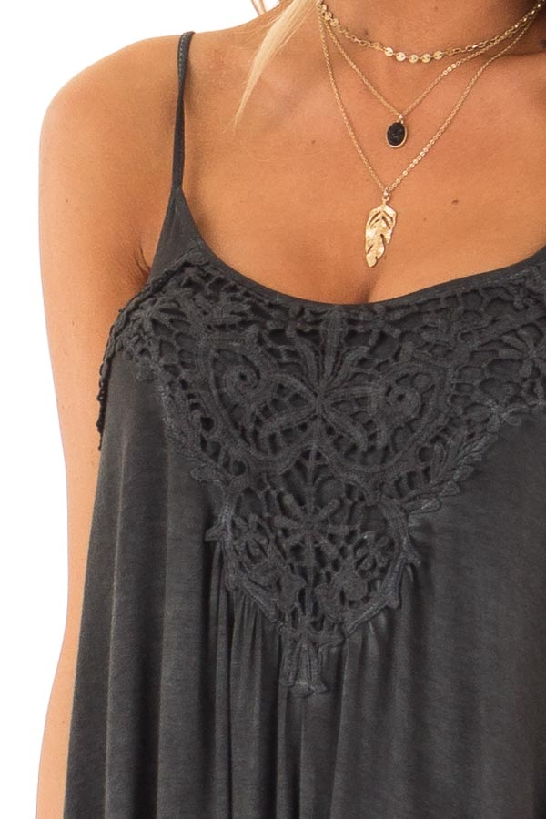 Charcoal Flowy Tank Top with Crochet Detail detail