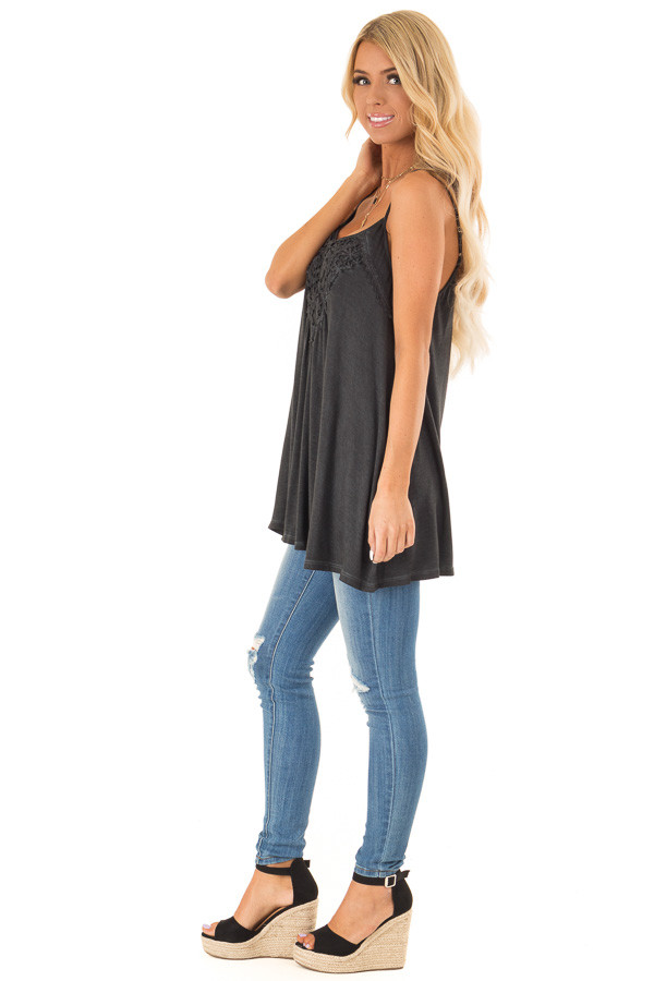 Charcoal Flowy Tank Top with Crochet Detail side full body